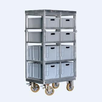 Τετράτροχη πλατφόρμα αλουμινίου με συρταριέρα (8 συρτάρια)